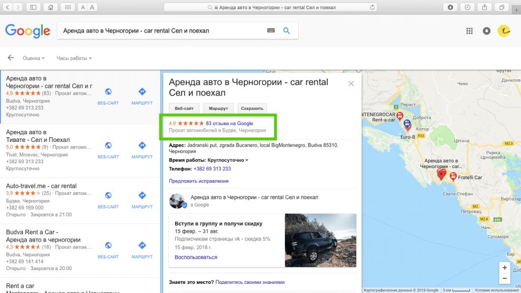 отзывы на гугл-бизнес о sitngo.me в Черногории