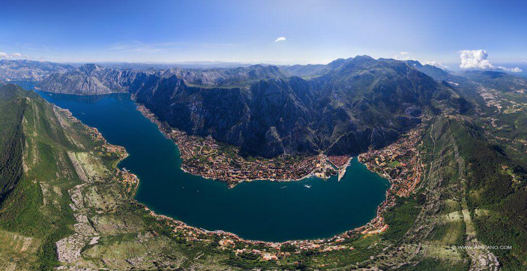 Боко-Которский залив вид сверху Черногория