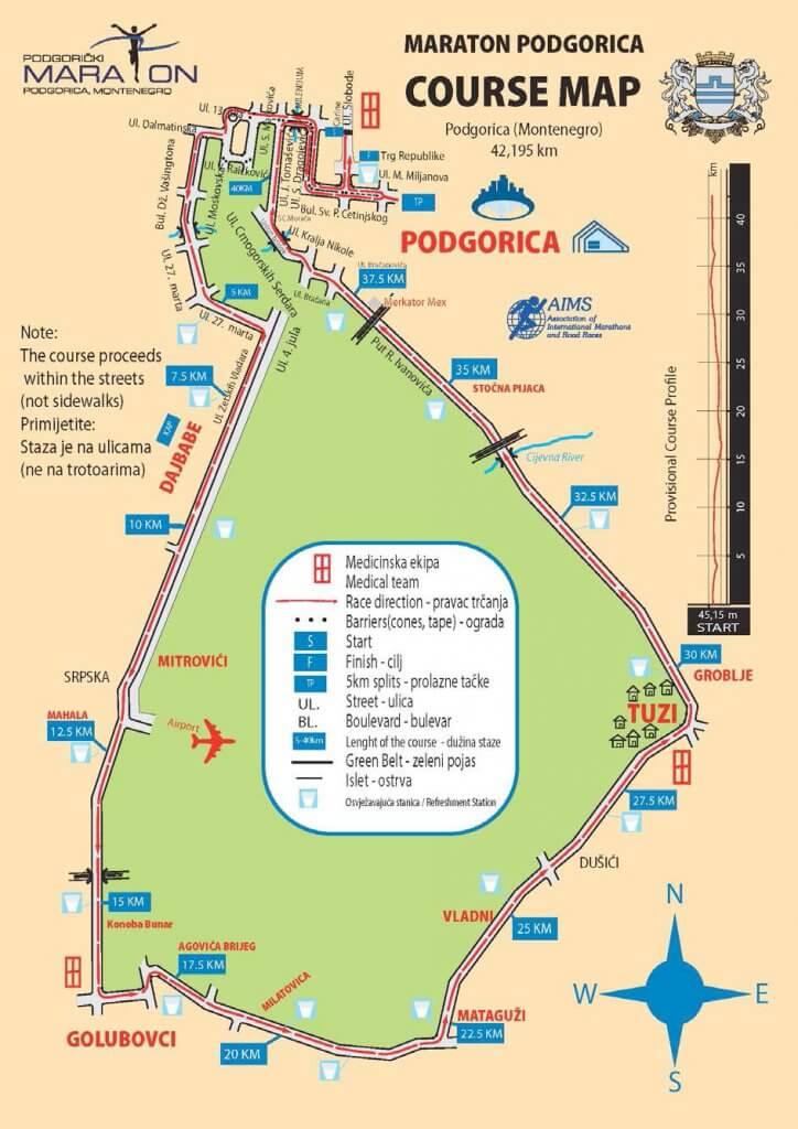 Маршрут марафона Подгорицы