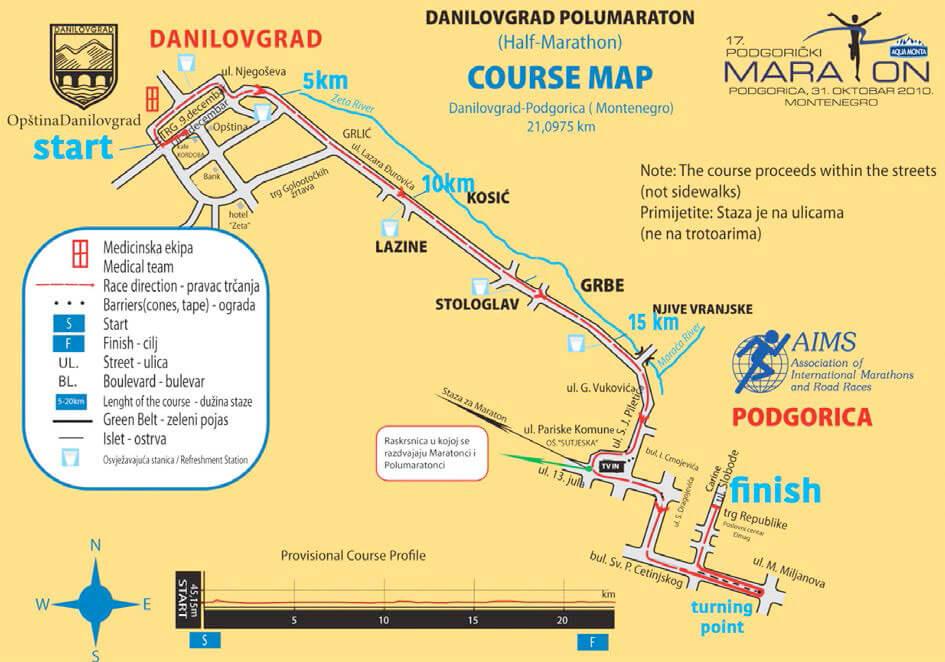 Маршрут марафона в Подгорице