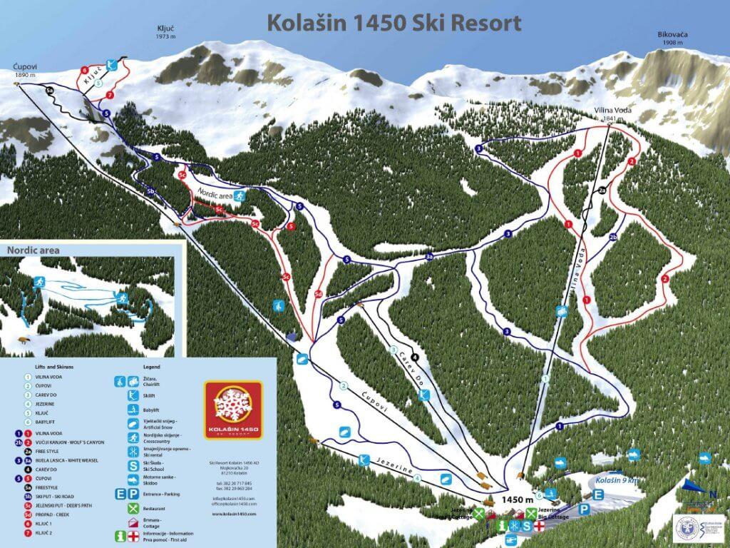 карта снежных трасс Колашин Черногория
