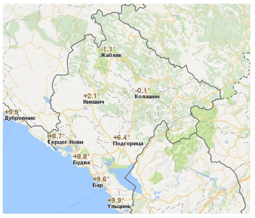 Температура воздуха в Черногории по городам в январе.