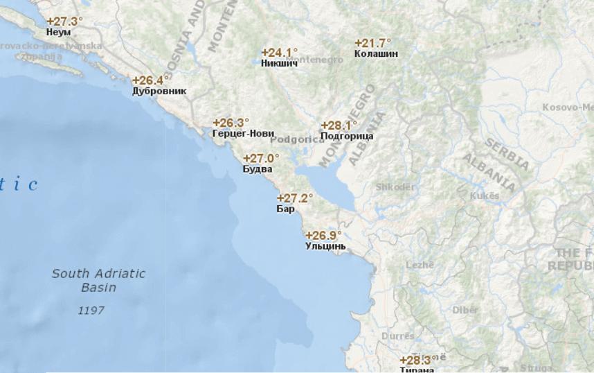 Температура воздуха в Черногории по городам в июне