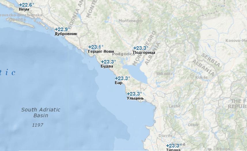 Температура воды в Черногории в июне