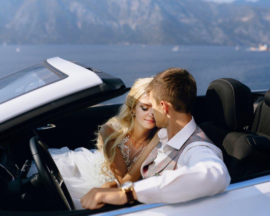 свадебные фото в кабриолете Черногория