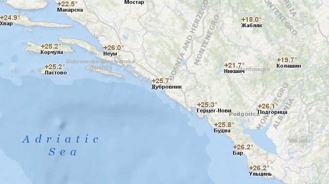 Температура воздуха в Черногории по городам в сентябре