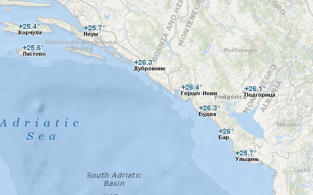Температура воды в Черногории в августе