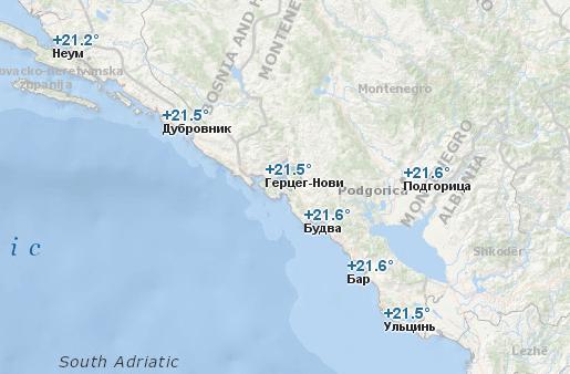 Температура воды в Черногории в октябре