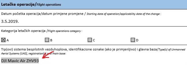 название дрона для получения разрешения на использование в Черногории