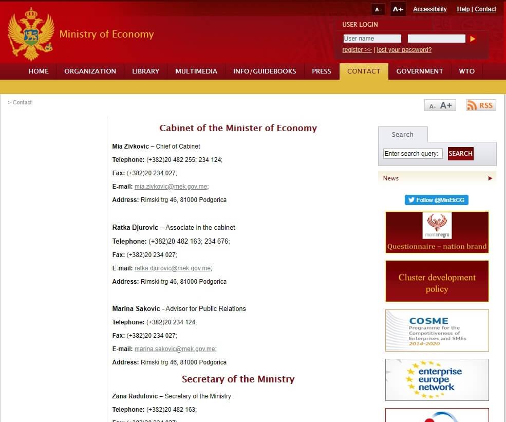 сайт www.mek.gov.me