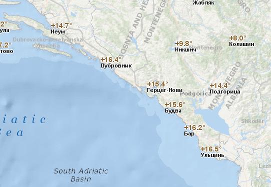 Температура воздуха в Черногории по городам в ноябре