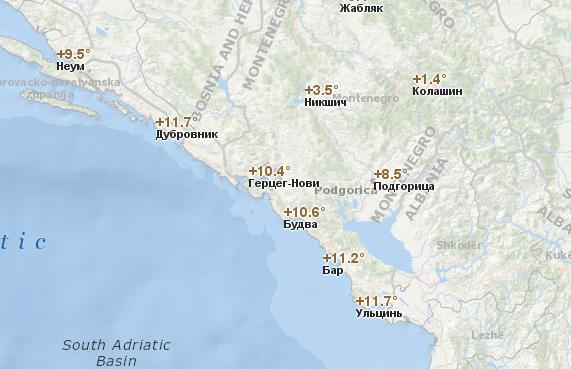 Температура воздуха в Черногории по городам в декабре