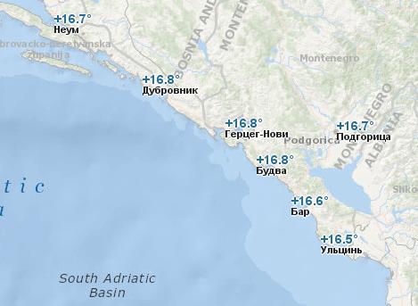 Температура воды в Черногории в декабре