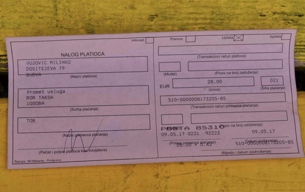 обязательная регистрация в Черногории